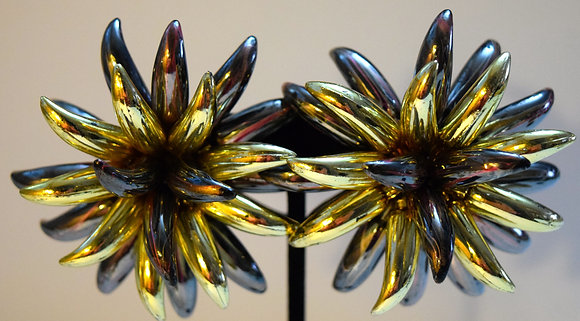 Vintage Costume Large FLoral Clip On Earrings