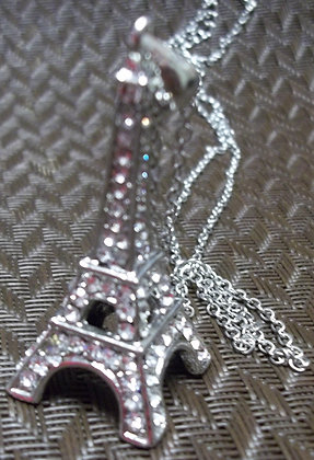 Costume Silver Necklace With Eiffel Tower Pendant