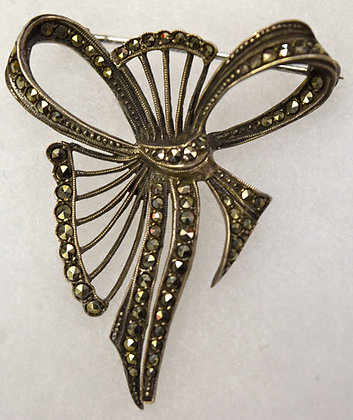 Antique Marcasite Ribbon Sterling Brooch Pin
