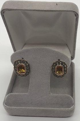 Custom Made Antique Sterling Silver & Yellow Citrine Quartz Earrings