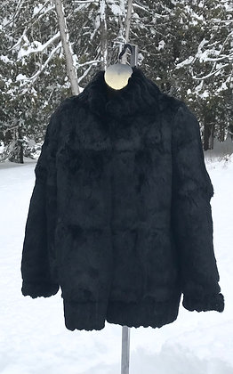 Vintage Black Rabbit Fur Jacket