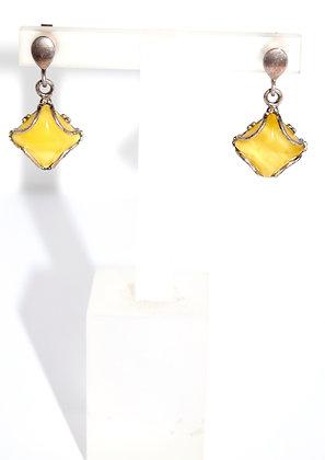 Square Shape Butter Baltic Amber Earrings