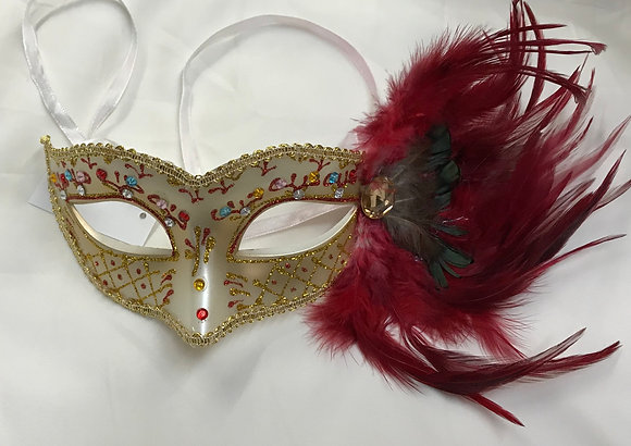 Fancy Masquerade Mask with Side Feathers Beige & Red