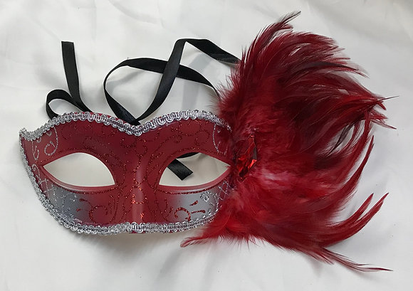 Fancy Masquerade Mask with Side Feathers Red & Silver
