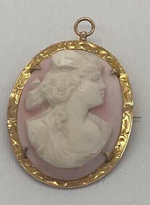 Antique Carved Pink Shell & 10k Cameo Brooch Pin & Pendant