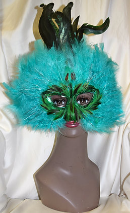 Green & Black Feather Masquerade Mask