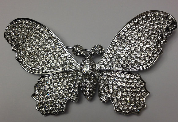 Large Butterfly Brooch Pin with Clear Rhinestones