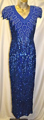 Vintage Demetrios Blue Beaded & Silk Gown Small