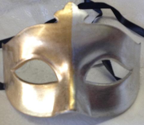 Men's Half Silver and Half Gold Masquerade Mask