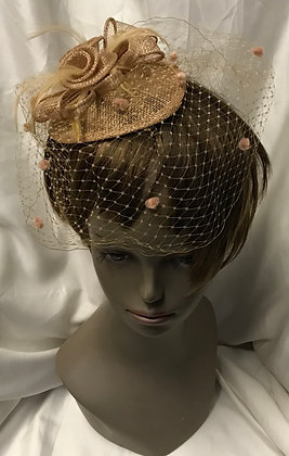 Small Pear Pillbox Caramel Floral with Birdcage Design Fascinator