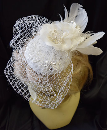 Fancy Bridal Fascinator Ivory