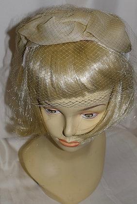 Vintage Beige Fancy Summer Hat with Birdcage