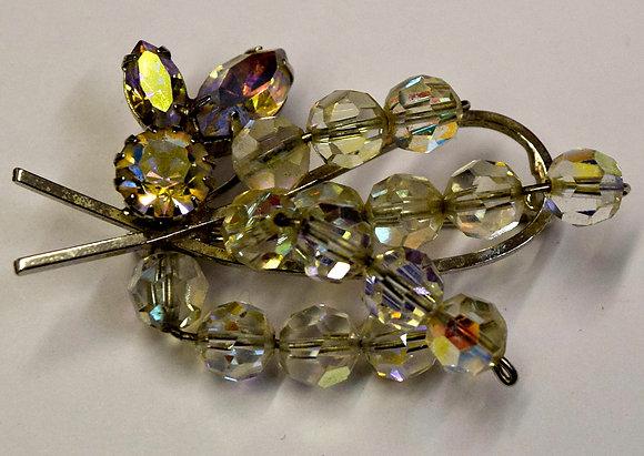Vintage Crystal Floral Costume Brooch Pin