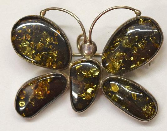 Green Baltic Amber Butterfly Brooch Pin & Pendant