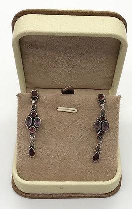Vintage Amethyst and Garnet Gemstones Chandelier Silver Earrings