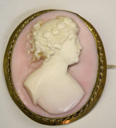 Antique Large Size Shell Cameo Brooch Pin