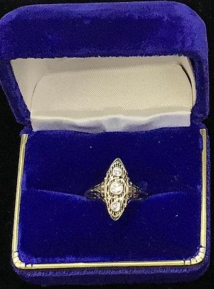 14K-18K Gold Antique Filigree Design with Diamonds Ring