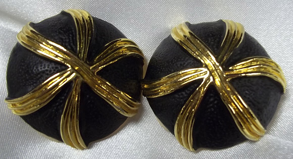 Vintage Costume Clip On Earrings 2D Button Style