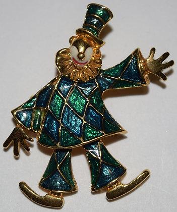 Vintae Clown Brooch Pin Blue and Green Enamel
