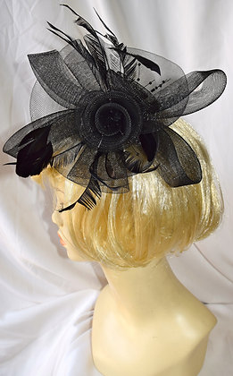 Black Classic Flower Fancy Fascinator with Feathers