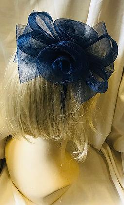 Simple Floral Navy Blue Fancy Fascinator
