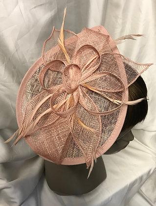 Pear Shape Fancy Light Blush with Floral Design Fascinator