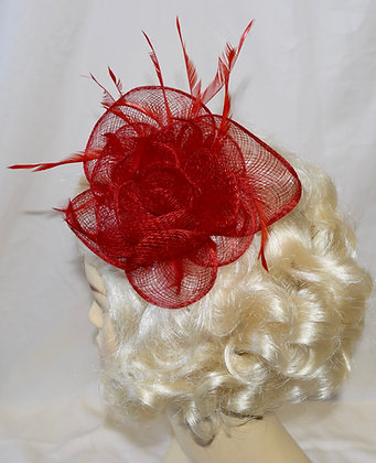 Red Simple Clip Floral Fancy Fascinator with Feathers
