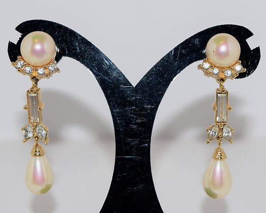 Vintage Christian Dior Clip on Pearl Drop Earrings