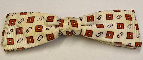 Vintage 1950's Clip Bow Tie Beige and Orange