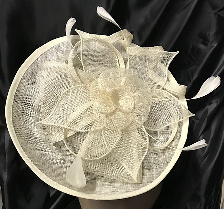 Large Round Shape Fancy Ivory with Floral Design Fascinator