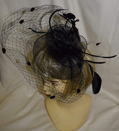 Floral, Birdcage & Feather Style Fancy Fascinator Black