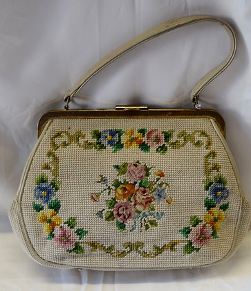Vintage Needlepoint Purse Beige with Floral Design