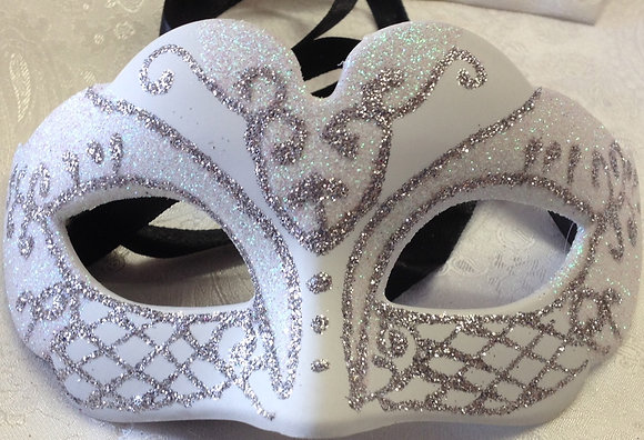 Petit Sparkle Masquerade Mask Silver and White