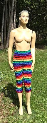 Rainbow High Waisted Lace Crinoline Material Pettipant Capri - X-Large
