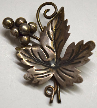 Vintage Grape Leaf with Grapes Silver Brooch Pin