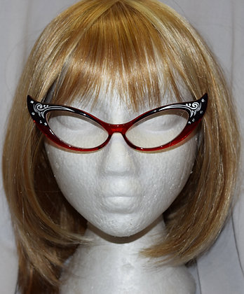 Black & Red Framed Clear Cats Eye Costume Glasses