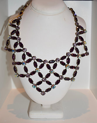 Creations Georgianni Handmade Swarovski Large Collarbone Necklace Purple