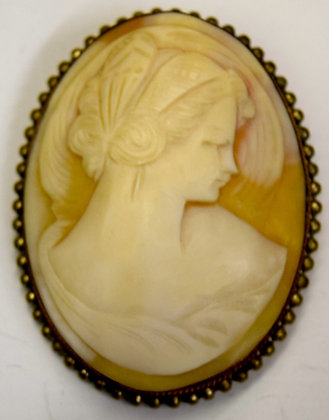 Rare Large Size Shell Cameo Brooch Pin Oval Shape