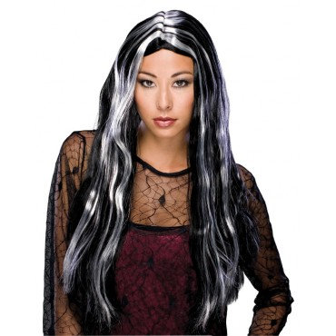 "24"" Long Witch Theatrical Wig Black & White"