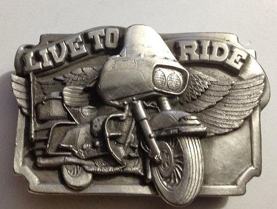 Vintage Live To Ride Belt Buckle