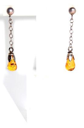 Teardrop Cognac Amber and Silver Earrings