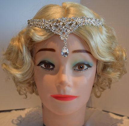 Floral Rhinestone Forehead Tiara with Teardrop