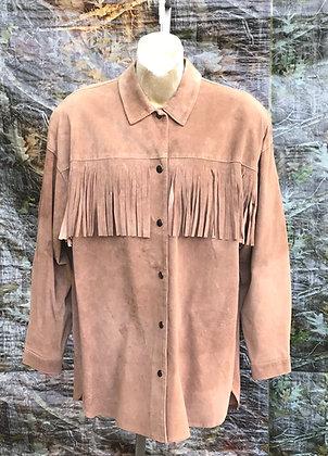 Vintage Tan Bagatelle Suede with Fringe Western Shirt
