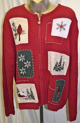 Vintage Cardinal & Christmas Portrait Sweater L