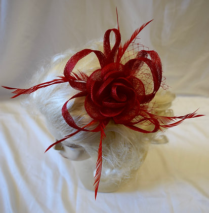 Red Flower and Birdcage Fancy Fascinator with Feathers