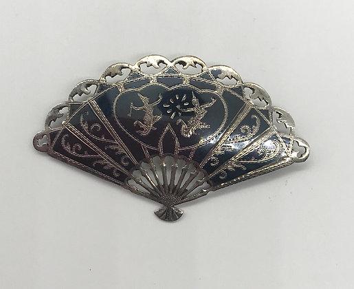 Vintage Birks Siam Sterling Fan Brooch Pin