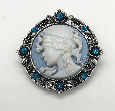 Costume Cameo & Floral Design Brooch Pin Blue