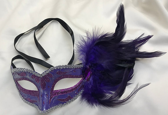Fancy Masquerade Mask with Side Feathers Solid Purple