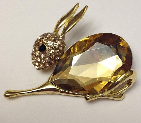 Bunny Rabbit Brooch Pin Amber