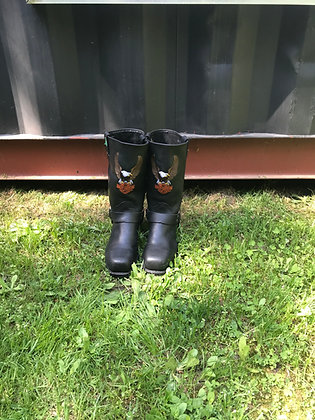 Vintage Men's Steel Toe Black Leather Harley-Davidson Biker Boots Size 9 3E